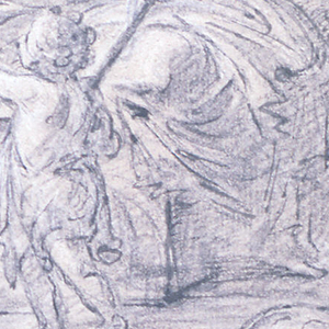 Drawing of the Holy Family. At center is Christ as a baby standing while the Virgin Mary is seated to the right supporting him.  Behind them at center left is Joseph standing.  Christ is reaching down to grab an object from the small Sheppard (?).  To the right a man looks over and to the center left a woman seated looks on.  An angel flies above all figures at upper right corner.