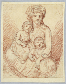 A portrait of a woman wearing a headdress holding two children in both arms.