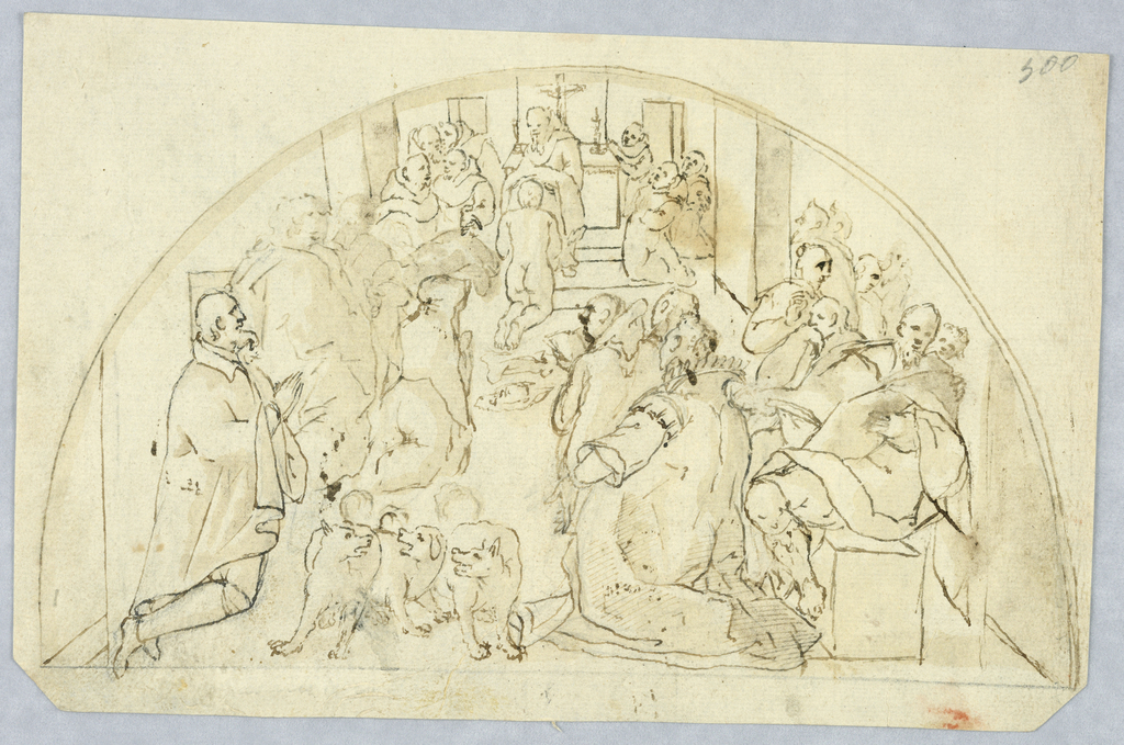 Interior scene with a group of men, including several monks, reading and kneeling in prayer. At front, three dogs.