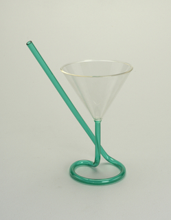 Memphis Cocktail Glass With Straw, 1982