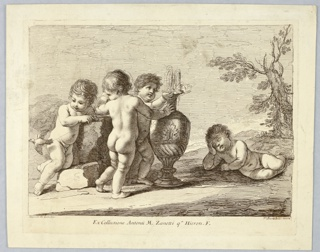 Four nude boys grouped about an urn. One, to the right, lies on the ground, his head on his hand. One plays, center, with the urn. Two at the left are watching a bird, far left.