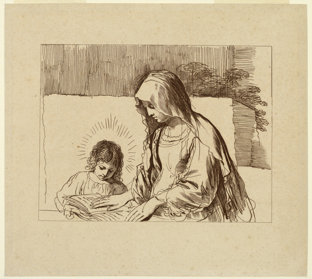 The Infant seated at a table, left, his Mother to the right. She holds a book open with both hands for Him to see. He is facing frontally, the Virgin in profile. Plants visible over a back wall.