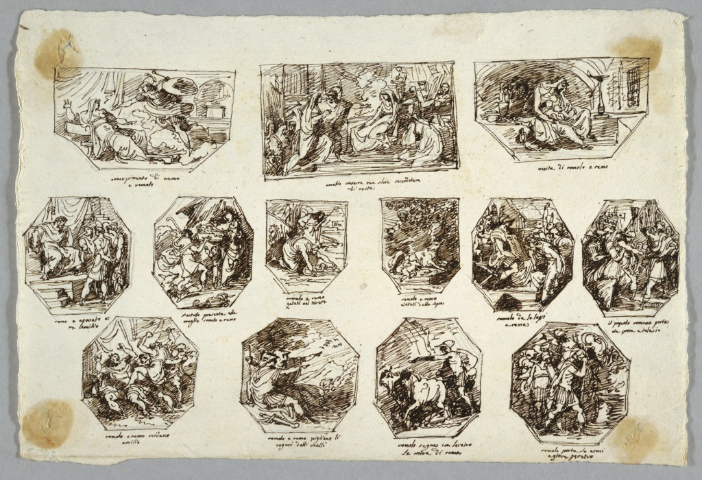 Drawing, Romulus and Remus, Thirteen Paintings for the Sala delle Origini di Roma, Faenza, 1803
