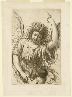 The angel faces frontally, with one hand on the hands of the child, with the other pointing to the sky. The Child is facing the angel, with his hands pressed together for prayer.