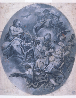 Oval drawing.  At center the Virgin Mary and an angel embracing a woman.  Mary extends her hand out to grab a crown/halo handed to her by Jesus.  At top right a depiction of God looking down.