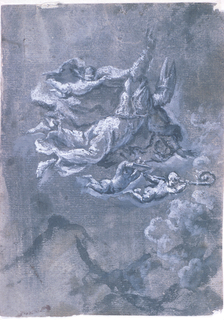 Saint Gennaro at center, it flying over Mount Vesuvius with winged putti around him.  The putto above him is holding his robe, the putto to the bottom right is holding a book, and the one to the bottom left is holding his crozier.