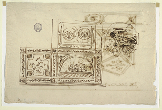 Recto: decoration for three panels, square panel with lunettes and two oblong panels. Each panel has frame. Decoration of corner panel disposed obliquely. At right, circle with putto in act of climbing upon sitting woman. Verso: More than quarter of page shown--center medallion with figure with triangles at outside of frame. Ceiling divided into geometric panels with ornaments. Inscribed at right: tutta l'intelavatura si dovrebbe fare a chiaroscuro paletto. Rough sketch for framing of central medallion.