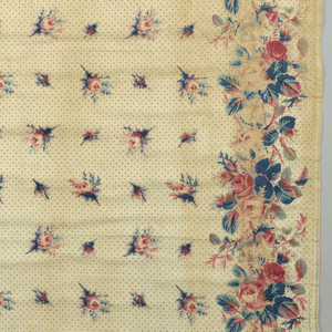 Pair of curtain panels in a glazed chintz. White ground is printed in an allover detached design of rose buds and blue foliage, probably faded from green. Small star-shaped design on the background. Border has a design of densely grouped roses and foliage.