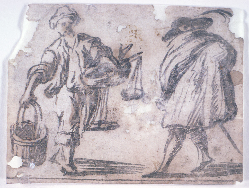 At left: a peddler, in his right hand a pail and in his left hand a basket with fish, and d a pair of scales.  He is walking toward the right, shown from the front.  The gentleman is walking toward the left, shown in profile.  He wears low shoes, stockings, a hat with a feather and a sword.  He is wrapped in a cloak.