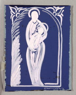 Against blue ground, a Virgin Mary holding baby.