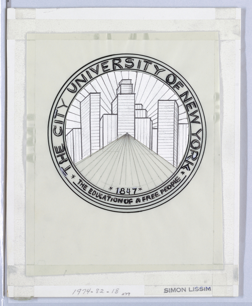 Circular logo for The City University of New York; abstract cityscape in background, road leading towards the back. Lower section: 1847 / THE EDUCATION OF A FREE PEOPLE.