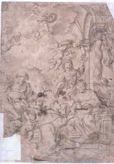 At center the Virgin standing while stretching her arm up to a flying angel.  At center right, Joseph looking down at two winged putti handing him a flower.  At center a couple, the woman holds baby Jesus on her lap and a man (monk) kneeling on a step in front of the child.