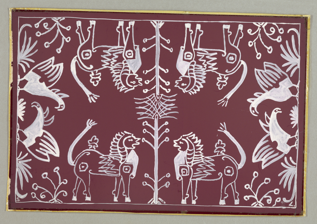 Design for a textile depicting symmetrical image of griffins or other exotic fantastical animals and trees in white.