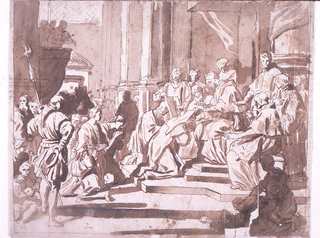 Drawing of Pope Clemente XI, seated at center right, while he raises his hands and vests his niece as a nun.