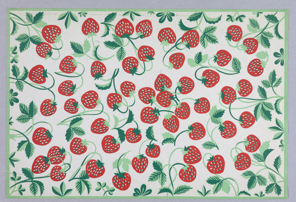 Design of allover strawberries with green vines.