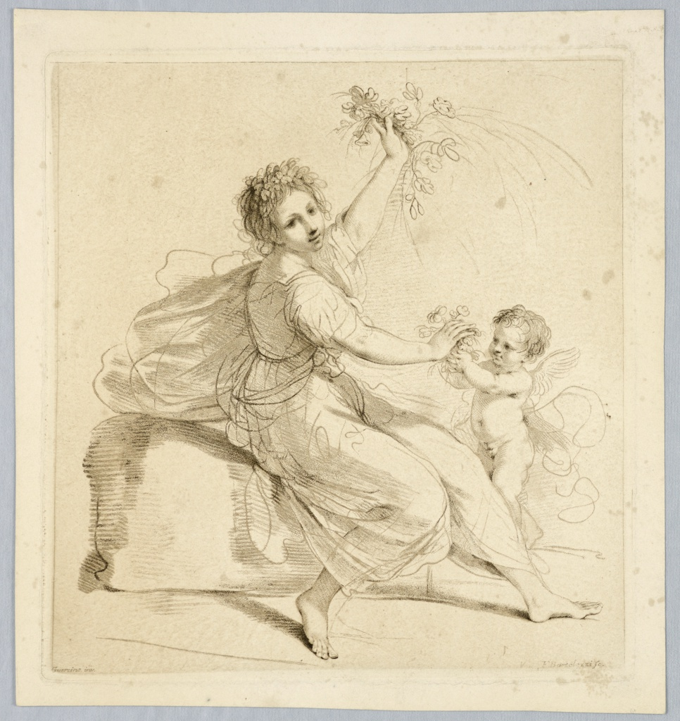 Flora seated, center, facing right, a putti hands her a bouquet while she waves another in her left hand. Flowers and leaves in her hair.