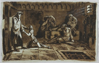 Here Giani treats the scene as a classical frieze. A kneeling youth begs a standing man who covers his face with his hand. Three more figures in anguish behind. At right, light streams in through a barred window.
