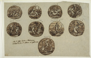 """Horizontal rectangle. Nine roundels with number in brown ink and inscription in black chalk. Top row: Europa and bull. Caption: """"Ratto deuropa."""" Narcissus looking at image in water; in background, Echo, at left, an animal at right. Caption: """"gicinto."""" Leda and Swan. Caption: """"Leda."""" Pan and Syrinx. He embraces tuft of reeds. The nymph is at back crying for help. Caption: """"Pan e nimfa."""" Central row: Apollo pursuing Daphne. Caption: """"Apollo Dafne."""" Diana, startled, looks up from seated Callisto. Caption: """"diana calisto."""" A woman shown standing in shell pulled by dolphins. Caption: """"Galatea o Teti."""" Venus shown kneeling in shell, two doves above. Caption: """"Nasita di venere."""" Bottom row: Neptune riding over sea. Caption: """"Nettuno."""""""
