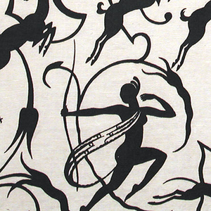 Highly graphic, stylized design of Diana the Huntress shooting backward at an antelope,  accompanied by running dogs, with other prancing horned animals. A framework of curving elements resembling ironwork unifies the design. Printed in black on a white ground.