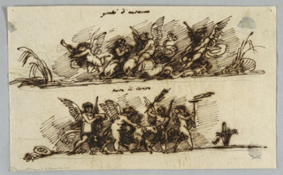 Page divided horizontally into two friezes featuring groups of putti.