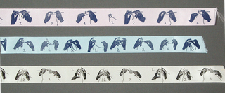 Ribbon printed in black with three different steps of knitting, sample is off white and lengths are off white and blue.