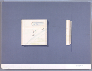 On gray-violet paper, drawing of a square thermostat, digital number display; lower left: Honeywell; two round buttons below, labeled: A.C. / Heat. On right: side view of the thermostat. Below, text in red: Cousins Design; in grey: 599 Broadway / New York NY 10012-3235 / 212 431 8222