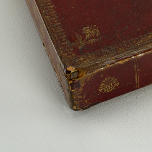 A leather portfolio with a red, gold and green zigzag interior. The portfolio has a brass closure.