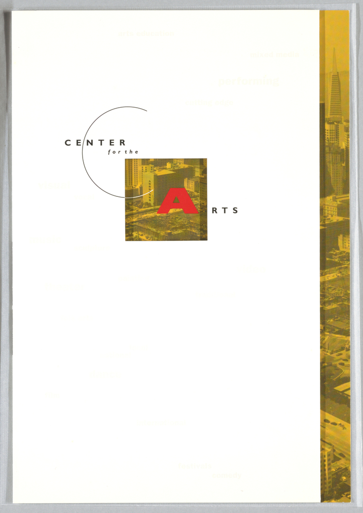 """Brochure with text and images throughout describing neighborhood, purpose, history of center and current facilities. Each flap folded to a different size. Cover: logo centered around cut-out square, which frames section of photographic image of aerial view of city (from left panel, verso); red """"A"""" at right of photo section. Also printed on cover in pale gray, words, e.g. """"arts education"""", """"performing"""", """"video"""", in varying sizes. Inside: aerial view of city runs through center of brochure, overlapping pages; map of neighborhood superimposed. Photographic image of dancers (tinted pink) overlaps two right pages. At bottom right, circular photographic image of Tenazas """"Transparent"""" installation. Timeline runs along bottom.  Back page: descriptions and drawings of two buildings, far right; Board of Directors list in black on orange ground along left edge. Logo at bottom center with address, phone and fax numbers. Printed in orange, red, gray, black, pink inks."""