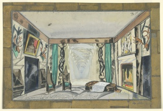 Set design of a living room with two high-backed chairs, at left, and a low cushion near a fireplace, at right. Paintings and animal heads with antlers on the walls, left and right. Background of retreating, arched hallway, at center, flanked by curtains and columns with abstract figures.
