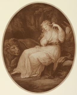 Full-length figure of a woman, seated, turned toward the left. She is binding her hair with a ribbon. A lion is beside her, left; a donkey behind her. Narrow enframing border.