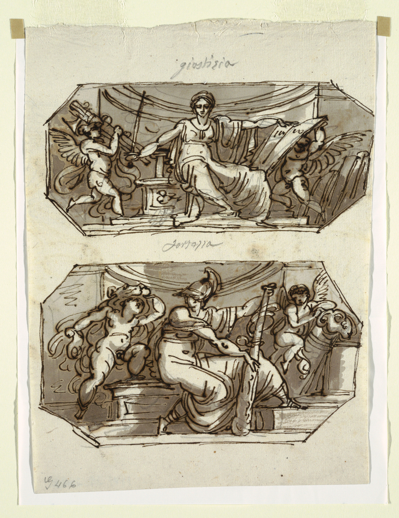 Drawing, Justice and Strength: Project for Two Octagonal Wall Paintings, ca. 1813