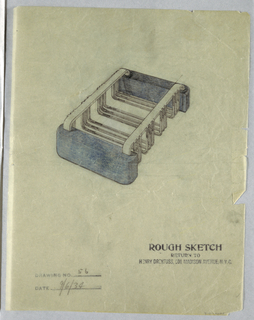 Perspective view of grilled metal dish, with horizontal straps, held on sides by two blue supports.