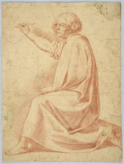 A male figure with medium long hair is kneeling on his right leg. His right arm is raised holding a pen in his hand. In his left hand, a bowl of ink is visible.