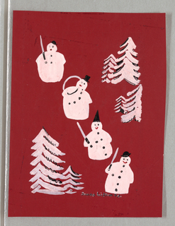 Image with four snowmen in a diagonal row with some snow-covered pine trees against a red ground.