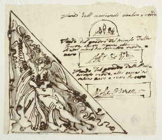 At left, in right triangle, winged female genius, seated beside candelabrum, raises wreath with right hand and holds trumpet in lowered left hand.  At upper right, in semicircle, two seated figures on either side of motif with inscription above:  Fondi delli semicercole cinabro o verde; in rectangle below, two figures, one seated, one standing with inscription above:  Fondo del quadro del trionfo della/ Guerra azzuro figure color/ li altri camei son cinabro verde e/ nero; in rectangle below, sketch of triumphant Peace with inscription above:  Fondo del quadro della Pace trionfo verde altri camei tu/ rchino nero e rosso bucaro.