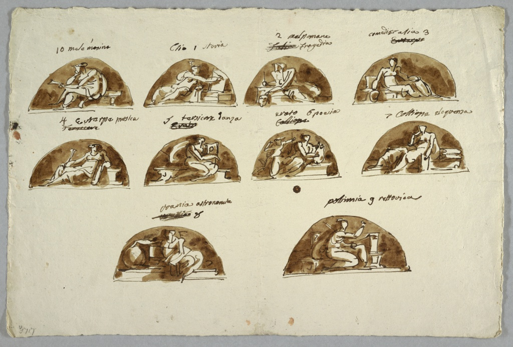 Drawing, Ten Lunettes with Muse and Mnemosine, 1805