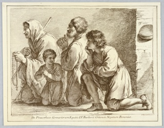 Four male figures kneel in various attitudes, all but one facing left. From left to right, a man in a cloak, with a rosary, a young boy, an old man with a beard and staff, and a young man with his hand to his chin.