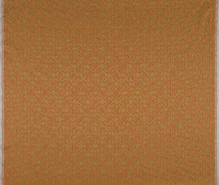 Slightly irregular pattern of raised ogives in orange with gold metallic on a deep ochre ground.