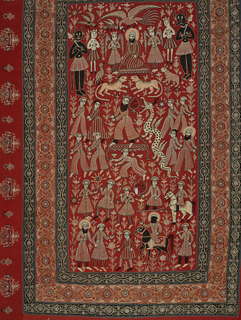 Vertical rectangular hanging embroidered to illustrate events in a heroic legend – possibly that of Rustam the Slayer of a Dragon – in a multicolored central panel on a red background. Curving vine floral borders on four sides on a black background. Wide outer border with isolated plant forms growing out from the center on a red background.