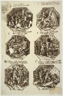 "Six octagonal drawings of Theseus subjects. Written top left, ""Camera di/ compagnia/ dipinto in/ Gaddi Forli/ 1819."" Top row: Theseus as boy sacrifices hair to Apollo in Delphi. Accompanied by mother, Aethra, and companions, boy raises hair to statue of gods. Priests stand right.  Written with ink on top, caption 1: ""Teseo sacrifica a /Delfo il ciuffo dei suoi capelli."" Theseus takes sword and shoes of Aegeus beneath stone. Aethra stands behind him.  Caption 2: ""Electtra mostra a Teseo la/ spada del padre e li calzari."" Central row: Theseus, showing sword at table is recognized by father.  Caption 3: ""Egeo padre di Teseo riconosce/ Teseo per figlio."" Theseus presents himself in Athens to do battle against Minotaur. He stands beside priest, the secretary ready to draw lots for youths and maidens to be sent as tribute to Crete. ""REST"" is written on urn.  Caption 4: ""Teseo ofre per il tributo/ di Minose in creta."" Bottom row, Theseus and Ariadne stand beside Minotaur's corpse. Jubilant and thankful crowd shown at right. Caption 5: ""Teseo ucide  il minutauro/ con l asistenza di Arianna."" Theseus and Ariadne board sailing ship. They are followed by girls and youths. Caption 6: ""Teseo con Arianna e li ostagi/ d atene sinbarca parte da creta."""