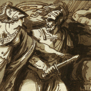 The battle takes place at the edge of the sea, with many men involved.  The flying Minerva touches the sword of Ulysses and points at Jupiter seated upon clouds in the left upper corner.