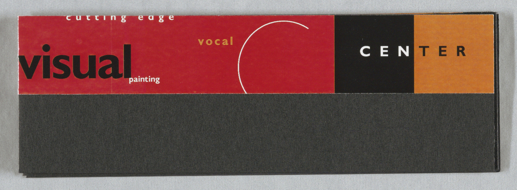 "Accordion-fold maquette with 8 segments, with text throughout. Top half glossy paper applied to black Pantone paper. Key words including ""center"",""festivals"", ""music"", ""cultural"", ""arts"", ""dance"", arranged in various visual formats, amongst various elements of the logo - parts of the ""C"" and the thick ""A"". Printed in red, orange, black inks."