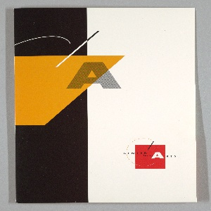 Folder filled with several brochures and stationary for the Center for the Arts, Yerba Buena Gardens. Exterior folder features graphics. Left side features large black block with geometric shapes in orange with large A. Right side large white A on red shape: Center for the Arts.