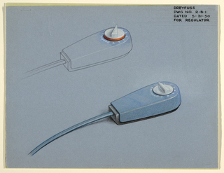 """Two similar regulators are depicted. Both are horizontally positioned in teardrop-like shape with squared bottom, connected to a cord. Upper version is only outlined but has the control knob fully colored in white and orange with numbers and """"Honeywell"""" name; bottom version is fully colored but with white control and numbers."""