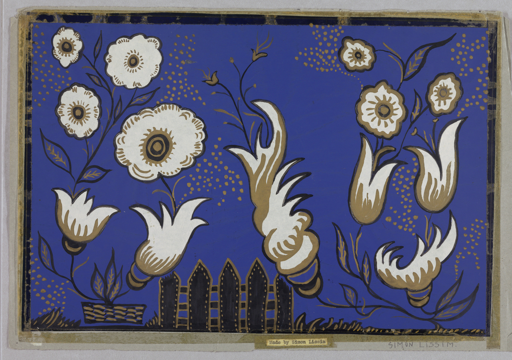 Design of bright blue with images of flowers and black fence.