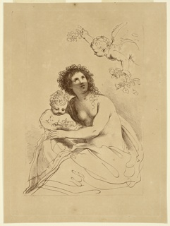 Flora, seated, a putto beside her, to the left, another in upper right corner, with garlands.