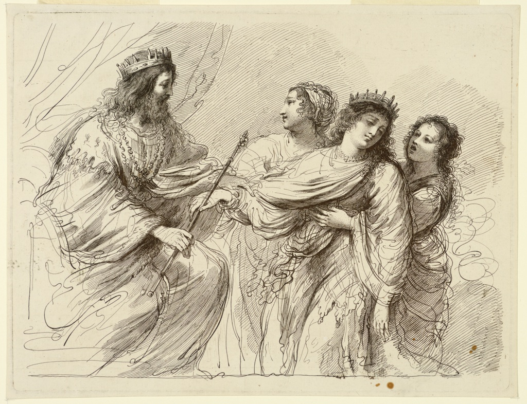 The king seated on his throne at left, before him Esther, with a crown carried by her handmaidens. The king and queen both touch the staff of the ruler. A curtain beyond.