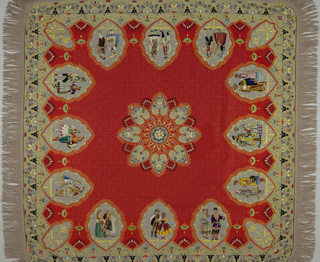 Red and gray broadcloth embroidered and appliqued with multicolored silk and chenille in a design of medallions showing various figures; in a Persian-style. Gray wool fringe.