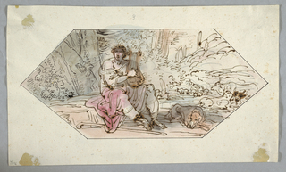 Horizontal Rectangle. Seated, he plays the lyre. The dog and thecastle are at right. Caption, on top written with black chalk: 3 in a hexagon. For the Teatro Della Concordia, Jesi says Cavina, Vol II, p. 813, AI, 278.