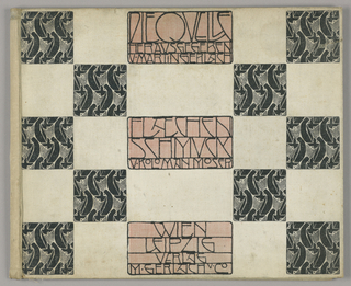 "Checkerboard design with text arranged in pale pink rectangles down center of sheet: in first rectangle:  ""Die Quelle / Herausgegeben / v. Martin Gerlach; second rectangle: Flächen / Schmuck / v. Kolomon Moser; third rectangle:  Wien / Leipzig / Verlag / M. Gerlach u. Co. [""The Source / Presented by Martin Gerlach / Ornament for Flat Surfaces / by Kolomon Moser / Vienna / Leipzig / Publisher / M. Gerlach and Co."".]  Profile women wearing long black robes facing in alternating directions. Inside cover same motif printed in gray on cream."